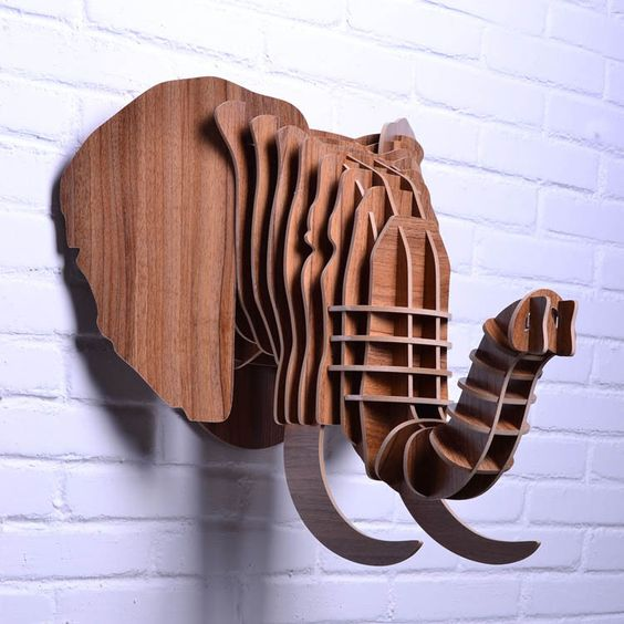 Elephant up  3d puzzle  cut wood diy akz.vn
