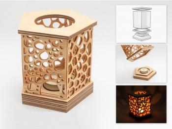 3d Mumluk_Kabinli_Candle holder with cabin.