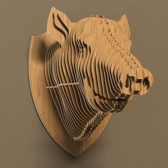Boar 3d puzzle  cut wood diy