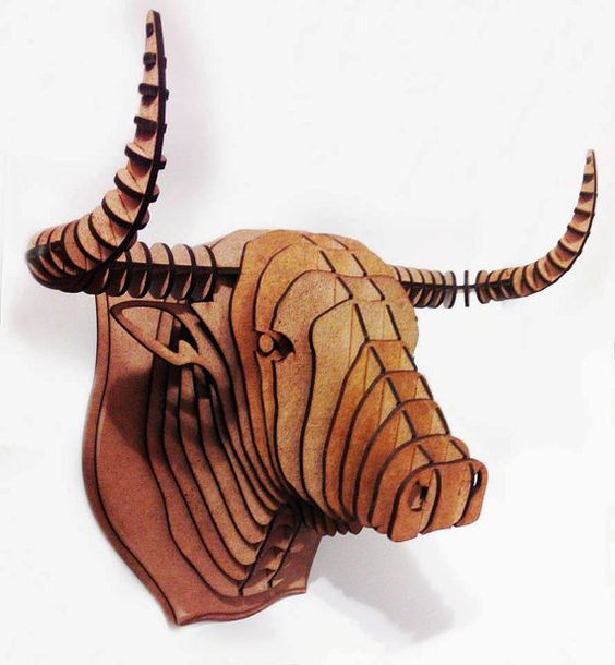 Bull 2 3d puzzle  cut wood diy wooden