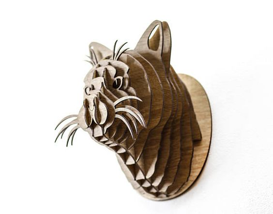 Cat  3d puzzle  cut wood diy wooden akz.vn