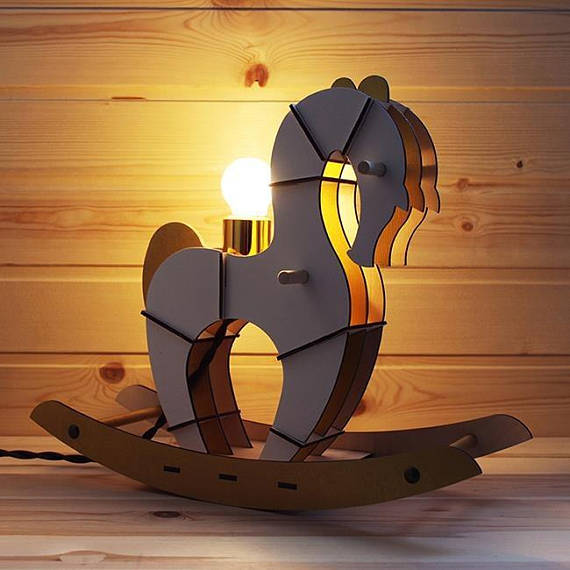 Drawing of lamp Foal vector plan for laser cut