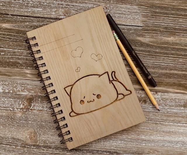 Sổ Tay cute bìa gỗ cao cấp Bìa gỗ