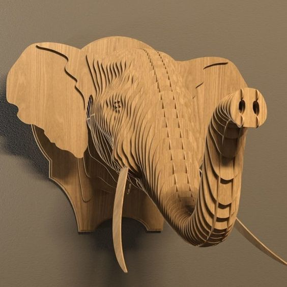 Elephan 1 3d puzzle  cut wood diy wooden akz.vn