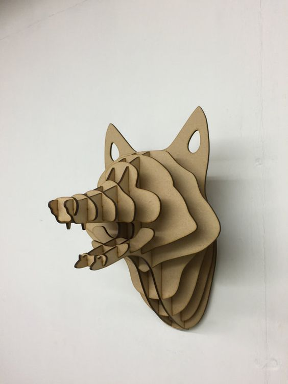 Fox  3d puzzle  cut wood diy