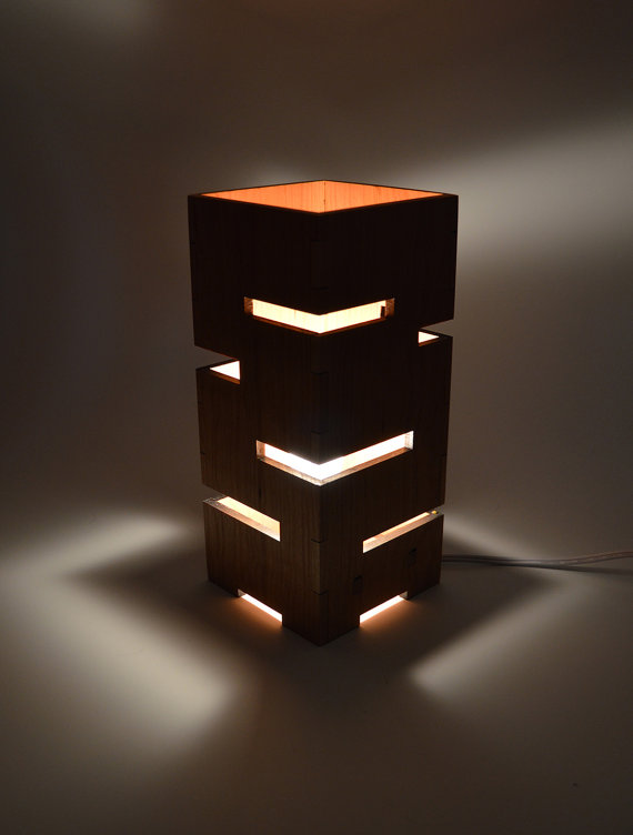 Geometric Wooden Lamp