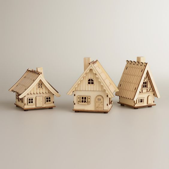 Laser-Cut Wood Houses