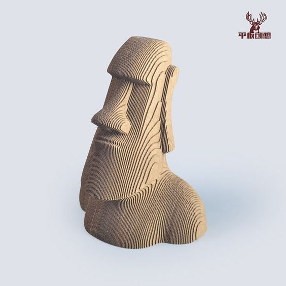 Moai Statue 3d puzzle  cut wood diy wooden
