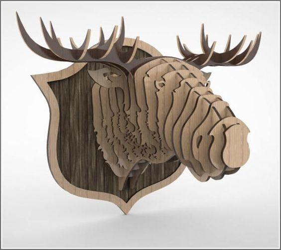 Moose 1 3d puzzle   cut wood diy wooden akz.vn