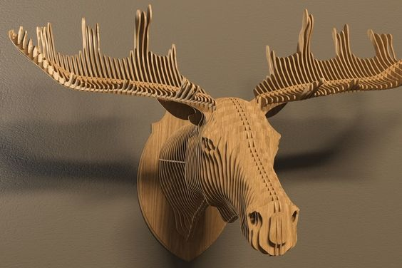 Moose 3d puzzle  cut wood diy