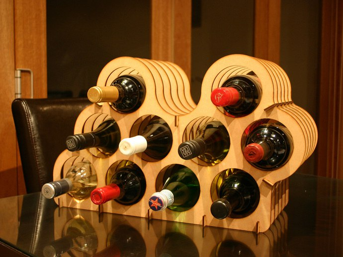 Rack of wine bottles ​
