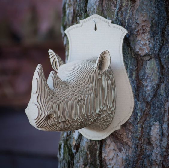 Rhino 3d puzzle  cut wood diy  wooden