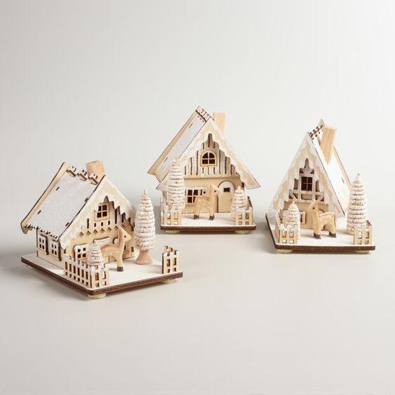 Wood House with Snow Decor    