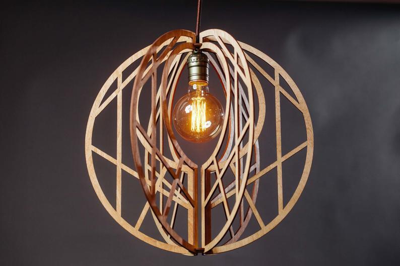 Đèn gỗ, Đèn gỗ DIY  mẫu a1