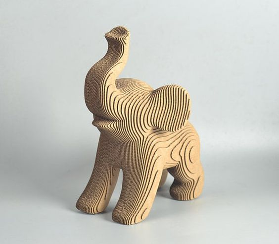 elephant   3d puzzle , cut wood diy