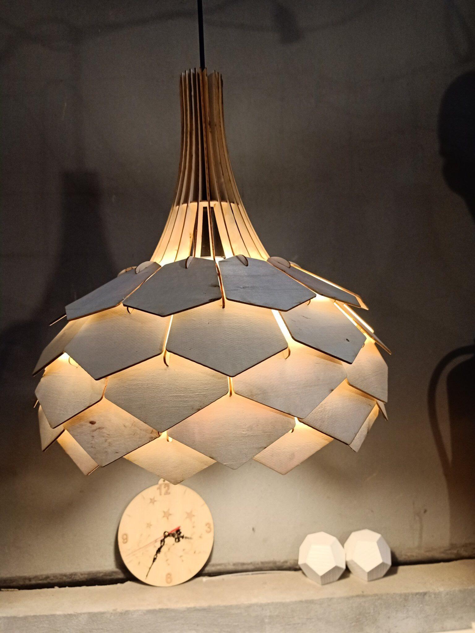 Đèn Gỗ DIY dáng Hoa Lài
