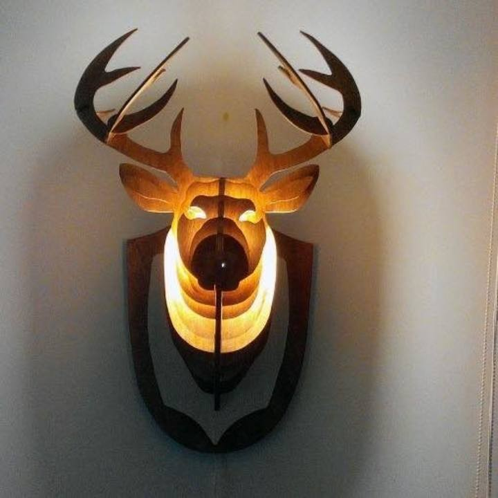 Đèn gỗ đầu hươu treo tường